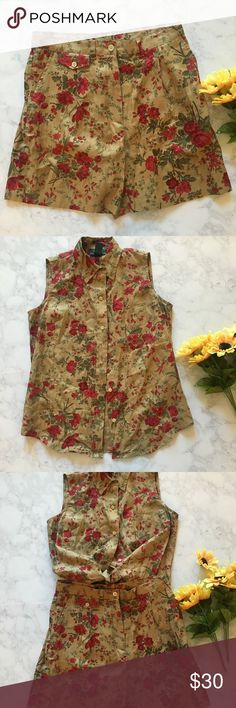 """Vintage Ralph Lauren two piece set Vintage Ralph Lauren two piece short and button up top set with red roses all throughout. Super cool and cute. The top is a size small & the shorts are size 8 actual 28"""" waist!  #vintage #ralphlauren #twopiece #roses #highwaisted Ralph Lauren Tops Button Down Shirts"""