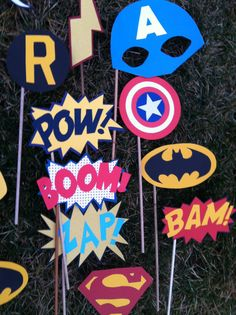 "Comic book fans would love this... ""SUPER HERO photo booth props by flutterbugfrenzy on Etsy, $29.50"""