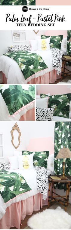 Palm Leaf & Pastel Pink Designer Teen Girls Bedding Perfectly pretty in PALM Beach. This gotta-have-it palm tree leaf fabric is simply spectacular. Our pastel pink creates an inviting and fun yet sophisticated look for your teen girl bedroom. Teen Bedding Sets, Teen Girl Bedding, Teen Girl Bedrooms, Teen Bedroom, Girl Rooms, Dream Bedroom, Master Bedroom, Dorm Room Headboards, Dorm Room Bedding