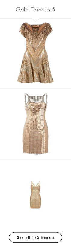 """Gold Dresses 5"" by kingcrimson ❤ liked on Polyvore featuring dresses, vestidos, short dresses, embellished cocktail dress, short pleated skirt, short beaded cocktail dresses, short skirts, short mini skirts, versace and cocktail dresses"