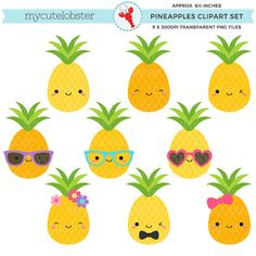 Cute Pineapples Clipart Set - pineapple clip art, fun pineapples, tropical, summer - personal use, small commercial use, instant download