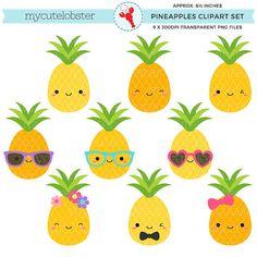 Cute Pineapples Clipart Set  pineapple by mycutelobsterdesigns