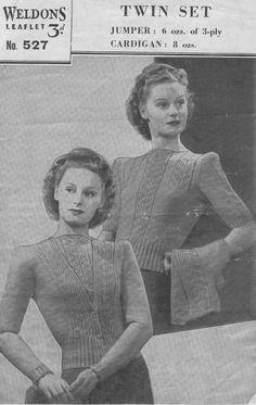 Vintage 1940's Knitting Pattern TWINSET by VintageAliPatterns