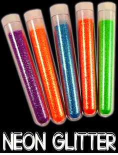 Black Light Responsive Neon Glitter (Set of 5 Colors)