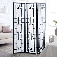 Sado Black Shoji 3-Panel Room Divider | from hayneedle.com