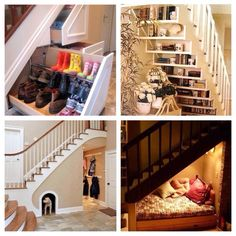 Multiple uses for the space under a staircase