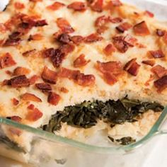 Grits & Greens Casserole :: Thanksgiving Potluck?  Southern side dishes—grits and greens—into one casserole.
