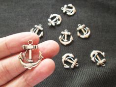 Ships Anchor Charm 8 Pcs Anchor Charms Silver by ChokkoThings, $1.89