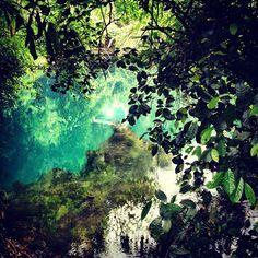 Incredibly Clear water at eco park in Phong Nha national park, Vietnam
