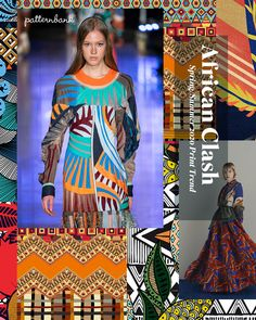 Feb 2020 - African Clash – Spring/Summer 2020 Print & Pattern Trend Stylised florals and bold African patterns clash in bright colour combos 2020 Fashion Trends, Spring Fashion Trends, Summer Fashion Outfits, Fashion 2020, Pattern Bank, Pattern Print, Print Patterns, Moda Chic, Fashion Forecasting