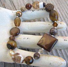 Brown Earthy Gemstone Mix Stretch Bracelet by carolinesjewelrybox, $22.00