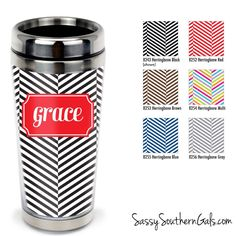 Monogrammed Travel Tumbler, Personalized Coffee Tumbler on www.SassySouthernGals.com