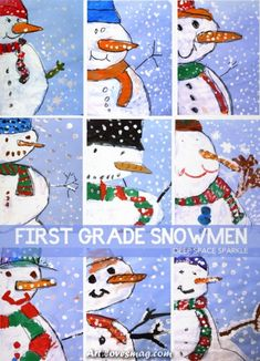 Adorable Close-up Snowman Painting How to draw and paint a three-quarter view snowman Christmas Art Projects, Winter Art Projects, Winter Crafts For Kids, School Art Projects, Art For Kids, Grade 1 Art, First Grade Art, Winter Girl, Classe D'art