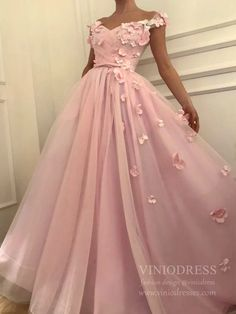 Chic A-line Off-the-shoulder Pink Prom Dress Floral Prom Dresses Long Evening Dress - Wedding World Floral Prom Dress Long, Prom Dresses Long Pink, Long Prom Gowns, Tulle Prom Dress, Cheap Prom Dresses, Evening Dresses, Beaded Dresses, Ball Dresses, Quinceanera Dresses