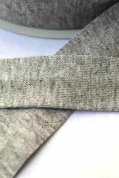 Jersey-Schrägband, grau-meliert - Bild vergrößern