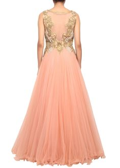 Peach net gown embellished in pleats and stone embellishment only on Kalki - Kalkifashion.com