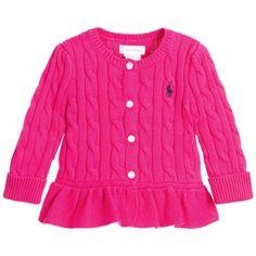 Ralph Lauren Baby Girls Pink Knitted Cotton Cardigan at Childrensalon.com