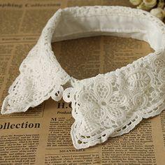 Fashion women white cotton lace detachable collar shirt fake false collar decoration collar apparel accessories(China (Mainland))