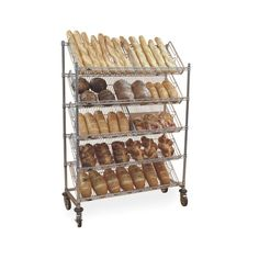 Metro Tote Storage Cart,Slanted Dispenser Racks can hold up to twenty 10 inch wide totes Heavy Duty Shelving, Wire Shelving Units, Shelving Systems, Wire Shelves, Storage Cart, Tote Storage, Bread Display, How To Store Bread, Glass Rack