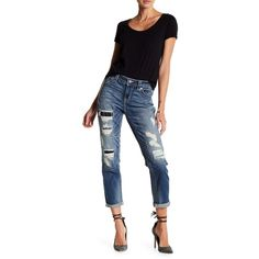 MISS ME Heavily Torn Contrast Patch Boyfriend Ankle Jeans ($50) ❤ liked on Polyvore featuring jeans, med blu, faded blue jeans, miss me jeans, blue boyfriend jeans, blue jeans and patch jeans