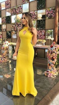 Yellow Mermaid Halter Prom Dresses Satin Evening Formal Gowns · loverlovebridal · Online Store Powered by Storenvy Trendy Dresses, Elegant Dresses, Beautiful Dresses, Fashion Dresses, Cheap Evening Dresses, Cheap Dresses, Evening Gowns, Yellow Evening Gown, Simple Prom Dress