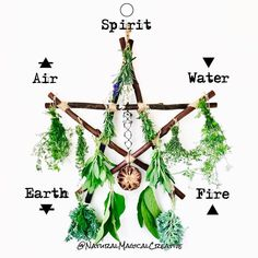 Earth, Air, Fire, Water, Spirit - the Elements represented on a Pentagram 💫 . This is one of my latest large Branch Pentagram Herb Dryers… Wiccan Witch, Wiccan Spells, Magick, Witchcraft, Art Wolfe, Wiccan Decor, Suncatcher, Baby Witch, Modern Witch