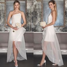 """Signature asymmetrical neckline by Romona Keveza! Style """"RK7490"""" silk crepe short dress featuring a sheer overskirt from Romona Keveza Couture Fall 2017 Wedding Collection! Available in floor-length skirt exclusively at Belle & Tulle Bridal! @romonakeveza #romonakeveza #luxe #couture #newcollection #asymmetrical #structure #silkcrepe #tulle #wedding #weddinggown #weddingdress #weddingshow #weddinginspiration #bridal #bride #bridetobe #bridalgown #bridaldress #bridalshow #bridalfashion…"""