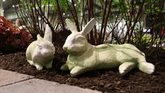 (Left) Baby Boy Bunny-FS9850 (Right) Field Rabbit-FS8835 Flower Show, Garden Sculpture, Rabbit, Bunny, Chicago, Baby Boy, Navy, Boys, Outdoor Decor