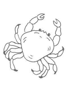 How To Draw Sea crab | Crab online coloring Kawaii crab coloring page Crab picture to color ...