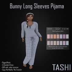 Tashi Bunny Long Sleeve Pijama, Long Sleeves, Long Pants, Pijama, 5 standard sizes, HUD color change included Available at https://marketplace.secondlife.com/p/Tashi-Bunny-Long-Sleeve-Pijama/6672548