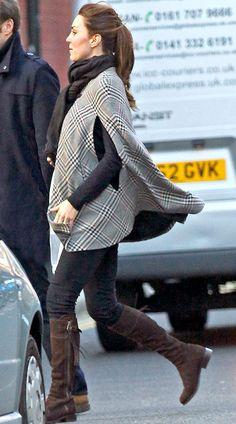 Kate Middleton, wearing a Zara Cape shopped in London on January 30, 2013.
