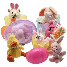 """Jumbo 6"""" Easter Eggs Filled with Plush Easter Bunny's Ducks and Hamsters (pack of 3 Jumbo Eggs Per Order)"""
