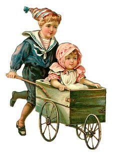 Vintage Scrap..victorian children with cart.