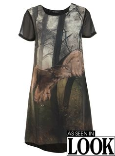 Owl Printed T-shirt Dress - Miss Selfridge