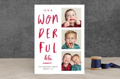 """""""Writing on the wall"""" - Bold typographic, Funny Holiday Photo Cards in Cranberry by Stacey Meacham."""