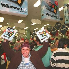 It was like Black Friday in August - the hype over Windows 95 launch, 20 years ago. #tech #windows #windows10 #windows95 #gadgets #gadget #geek #hype #gadgetshow #blog #software #product #technology #launch