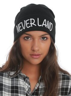 "Black beanie with ""Neverland"" embroidered in white."