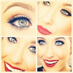 Jaclyn Hill does the most perfect nude eye with a cat eye and bold, gorgeous, stunning red lip <3 love it :-)