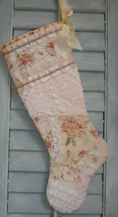 shabby chic christmas stocking | quilted patchwork shabby chic christmas stocking | ho ho ho