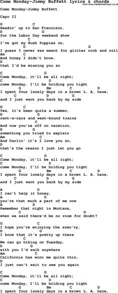 Love Song Lyrics for: Come Monday-Jimmy Buffett with chords for Ukulele, Guitar Banjo etc.