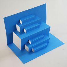 Realizar una escalera azul de papel - Pop-up de líneas paralelas | L'atelier Canson