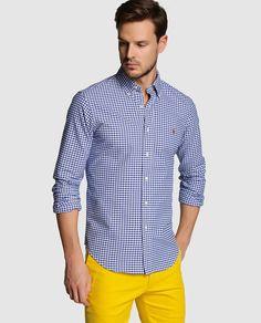 Camisa de hombre Polo Ralph Lauren azul de manga larga y cuadros · Polo Ralph Lauren · Moda · El Corte Inglés