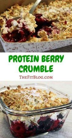 Healthy Snacks Discover High Protein Berry Crumble Who says you cant have cake for breakfast? This berry crumble looks and tastes like cake but it actually has the perfect macro nutrients for a healthy breakfast or snack. Protein Dinner, Healthy Protein Snacks, Healthy Desserts, Protein Foods, Protein Muffins, Protein Cake, Protein Cookies, Healthy Breakfasts, Healthy Recipes