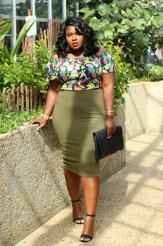 Cute Pumps, Simple Sandals, Plus Size Kleidung, Plus Size Outfits, Plus Size Fashion, Midi Skirt, High Waisted Skirt, Tropical, Two Piece Skirt Set