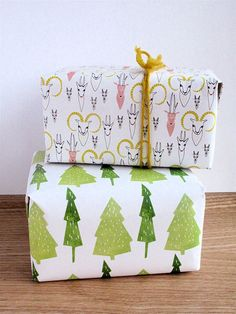 Printable Christmas gift wrap paper Trees by kimslittlemonsters, €1.95