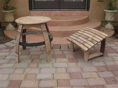 Wine Barrel Footrest And Table Woodworking Plans