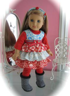 Sweet ruffled dress set made to fit 18 inch American Girl doll/ floral
