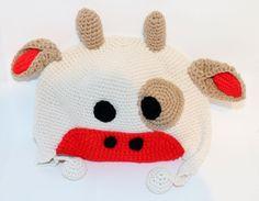 Lustige selbstgehäkelte Strickmütze für Kinder Kuh Mütze mit Bommel Häkeln
