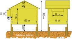 Plan de construction d'un poulailler sur pilotis pour trois poules.
