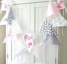 9 Feet Party Banner, 21 flag Bunting, Wedding Decor, Pale Light Pink Floral, Grey Polka Dot and Flowers, Photo Prop, Baby Girl Nursery Decor. $32.00, via Etsy.